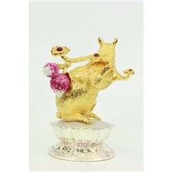 24K Gold Plate Ruby Stone Rat Chinese Zodiac Sign Clever Witty Sculpture Statue