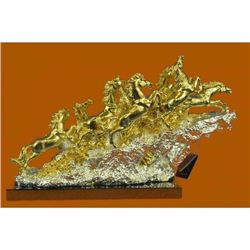 Hand Made European 24K Gold Bronze Silver mustang Home Office Farm Decoration