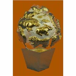 Lucky Chinese All Zodiac Signs Sphere 24K Gold Silver Plated Bronze Sculpture