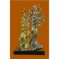 24K Gold Plated Bird, Rabbit, Monkey, Elephant and Tree of Life . Sculpture Gift