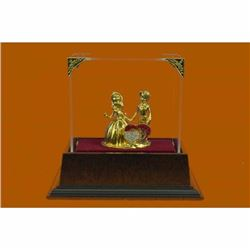 Art Nouveau 24K Gold Couple in Love With Rhinestone Bronze Sculpture Figurine