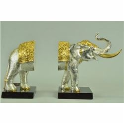 24K Gold and Silver Plated Elephant Bookends Bronze Sculpture Figurine Figure