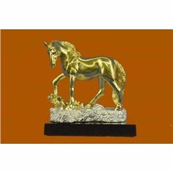 Art Deco Male Stallion 24K Gold plated Bronze Sculpture Statue Figurine Figure