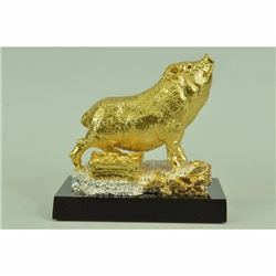24K Gold and Silver Plated Bronze pig Hot Cast Museum Quality Sculpture