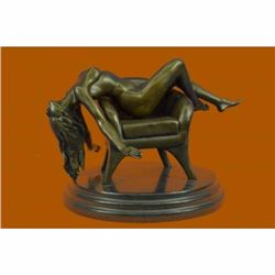 Details about  2 Pcs Handcrafted Sexy Nude Woman on Sofa Chair Bronze Sculpture Statue Figurine