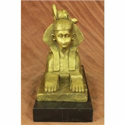 Egyptian Lion with Nude Nymph Bronze Sculpture Marble Base Statue Figurine Gift