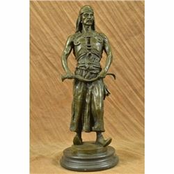Signed Goudray LEmir Nomadic Arab Middle Eastern Chief Sword Bronze Sculpture