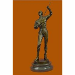 Bronze Figure of a Young Fencer by Benoit Rougelet Handcrafted Museum Quality