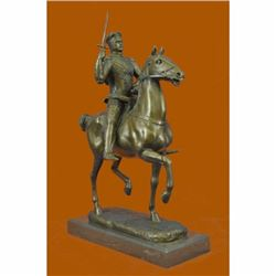 Handcrafted Detailed Roman Warrior on Horse by Fremiet Bronze Sculpture Statue