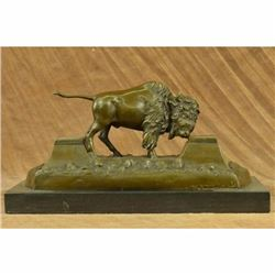 Large American Buffalo Bison Bronze Sculpture by Russell Hot Cast Figurine Decor