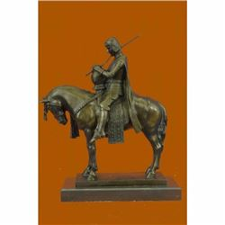 King Arthur on Horse with His Sword Bronze Sculpture Marble Base Figurine Sale