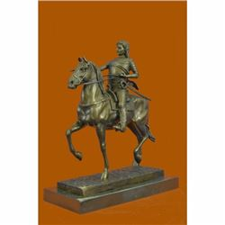 Europe Bronze Marble Art Deco Male Warrior Knight Hunting On Horse Statue Figure