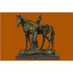 Signed Original Hertel Nude Female Warrior with Her Faithful Horse Bronze Statue