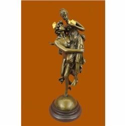 Large Pandora Box with Flying Mercury Bronze Sculpture Marble Statue Figurine