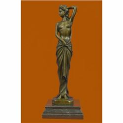 Art Deco Nude Female Signed Long Bronze Sculpture Figurine Figure Home Decor
