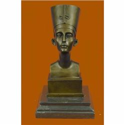 Miniature Signed Original Vitaleh Nefertiti Bust Egyptian Queen Bronze Classic