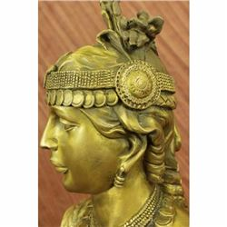 Egyptian Lady Le Caire by Cordier Bronze Female Bust Sculpture Statue Figurine