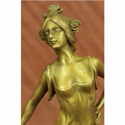 Gold Patina Hot Cast by Lost Wax Gypsy Dancer Bronze Sculpture Marble Statue Art