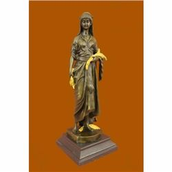 Signed by Renowned French artist Bouret Maiden Girl Gold Patina Bronze Sculpture