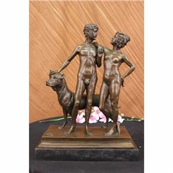 Extra Large Nude Couple accompany Dog Bronze Sculpture Marble Base Figurine SALE