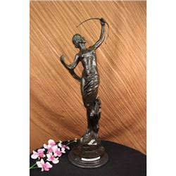 BRONZE DECO NUDE DIANA HUNTRESS FIGURE