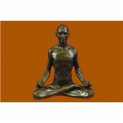 Signed Original Fisher Yoga Teacher Bronze Sculpture Hot Cast Figurine Home Deco
