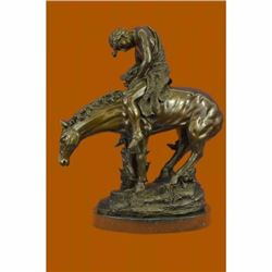 Original Aldo Vitaleh Indian on Horse a Tribute to Remington Bronze Sculpture NR