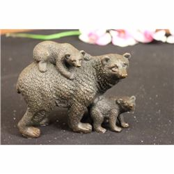 Mama Bear with Cubs Bronze Figurine
