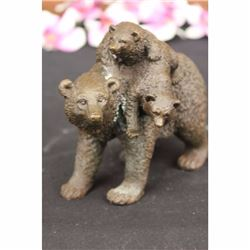 Signed Original Black Bear Mother Cub Western Art Bronze Marble Statue Sculpture