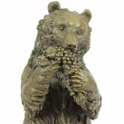 BRONZE SCULPTURE STATUE BEAR HEAD BUST WITH FOOD MARBLE FIGURE FIGURINE ANIMAL