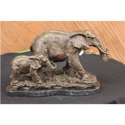 Signed Bugatti Animal Kingdom Mother Elephant with Family Bronze Sculpture Decor