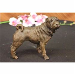 Signed Original Milo English Bull Dog Bronze Sculpture Animal Pet Figurine Decor