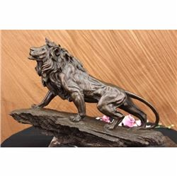 Lion Bronze Statue Signed by Barye
