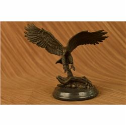 Signed Barye Flying American Eagle Art Deco Bronze Sculpture Statue Figurine