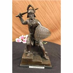 Signed Lange Bold Knight warrior W/ Sword Bronze Statue Free Shipping Sculpture
