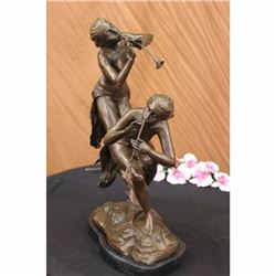 Signed Original Decarlo two Wood Nymphs Singing Bronze Sculpture Figurine Art