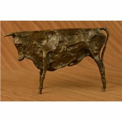 ABSTRACT HOTCAST BRONZE (CUBIST - PICASSO STYLE) BULL STATUE ( SIGNED ) HOME ART