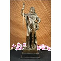 Signed Debut King Louis XIV Standing with Spear Bronze Marble Sculpture