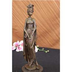 Original Signed Royal Princess in Garden Bronze Statue Sculpture Figurine Decor