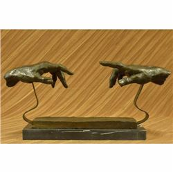 Signed Dali Touching Hand Bronze Sculpture Marble Base Statue Figurine Figure NR