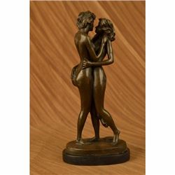 Signed Collector Edition Two Lesbian Lover Kissing Bronze Sculpture Statue Decor