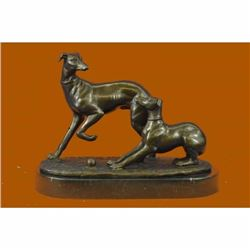 Pj Mene (1810-1879) two Greyhounds Playing Argente And Dore bronze statue Sale