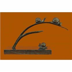 Handcrafted Limited Edition Snails on Branch by~Charles Payne~ Bronze Sculpture