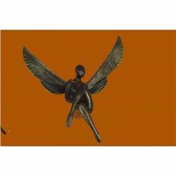 Hot Cast Sitting Angel Signed Numbered Bronze Sculpture Wall Mount Figurine Sale