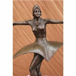Bronze Sculpture Symmetrical European Dancer Designed by Chiparus Marble Figure