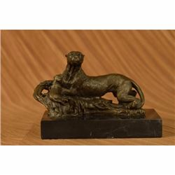 Cougar Panther Jaguar Cat Collector Art Bronze Marble Bookend Decor Sculpture