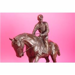 Bronze Statue Horse and Jockey Racetrack Triple Crown Farm
