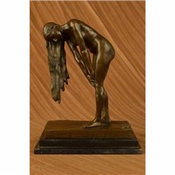 Signed High QualityALDO VITALEH Art Deco Bronze Nude Girl Marble Plinth Statue