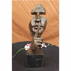 Signed Salvador Dali Abstract Man Hush Up Bronze Sculpture Modern Art Figurine