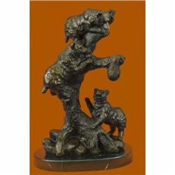 Western Art Charles Russell Black Bear Mother Cub Bronze Marble Statue Sculpture